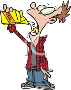 Clip Art Image  A Boy Drinking Milk From The Carton