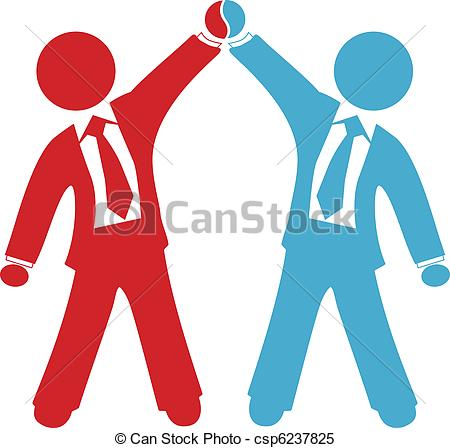 Clipart Vector Of Business People Celebrate Deal Agreement Success