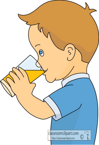 Drink And Beverage Clipart   Boy Drinking Orange Juice   Classroom