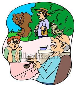 Grandpa Telling A Fish Story To His Grandson   Royalty Free Clipart