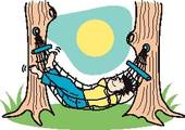 Guy Sleeping In Hammock Clip Art   Clipart Graphic