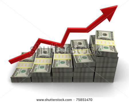 Of Rising Money Charts Business Success Concept   Stock Photo