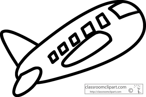 Aircraft   Airplane Travel Outline 11813   Classroom Clipart