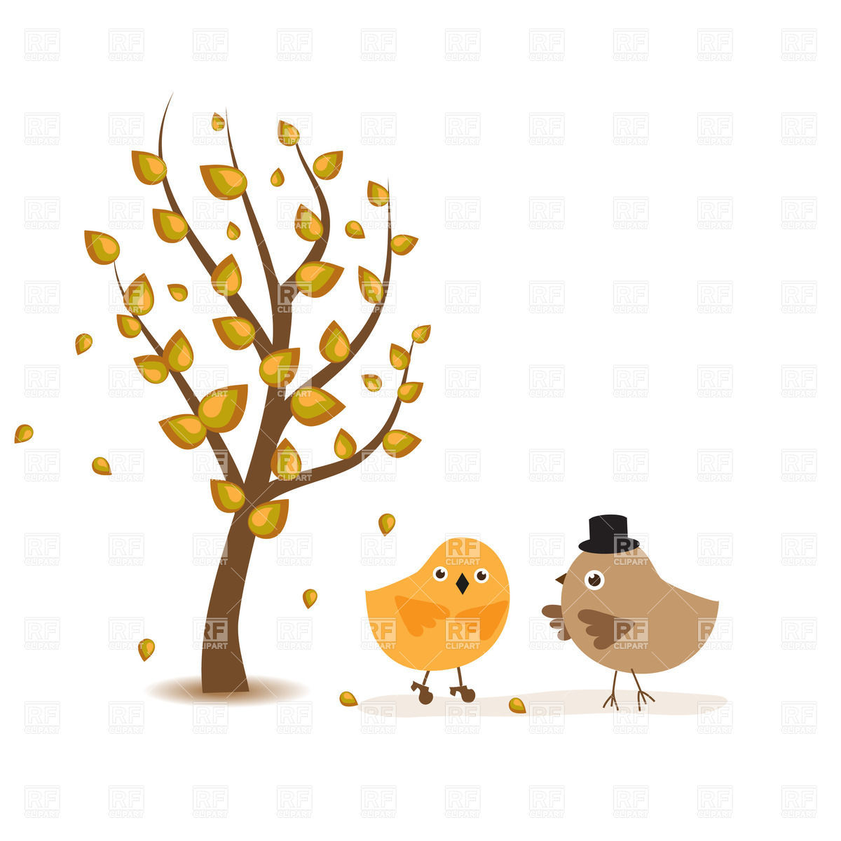 Autumn Tree And Couple Of Birds 21454 Plants And Animals Download