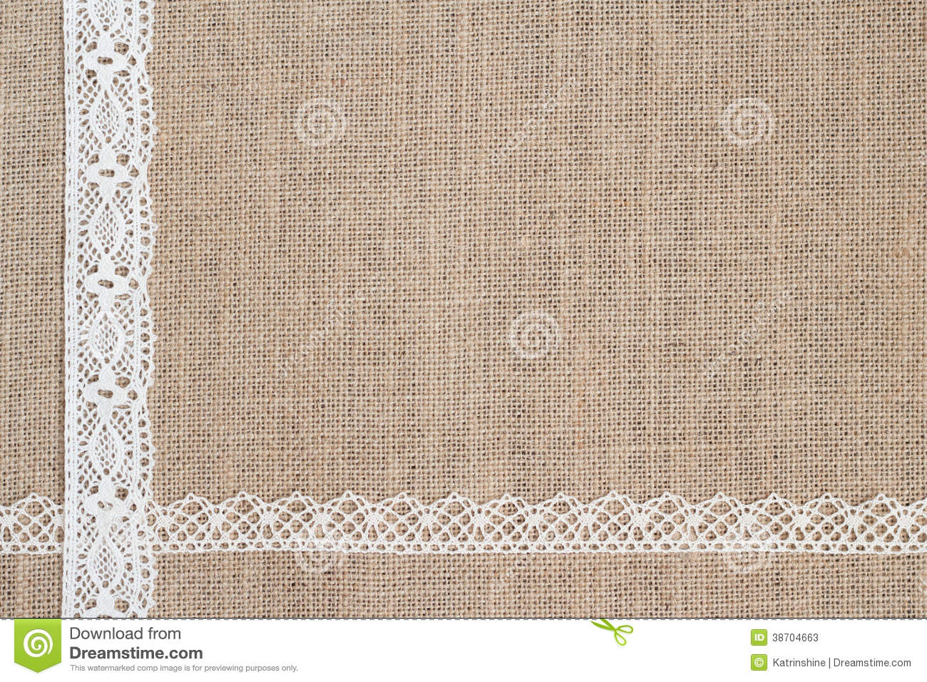 Burlap Background With Lace Stock Photos   Image  38704663