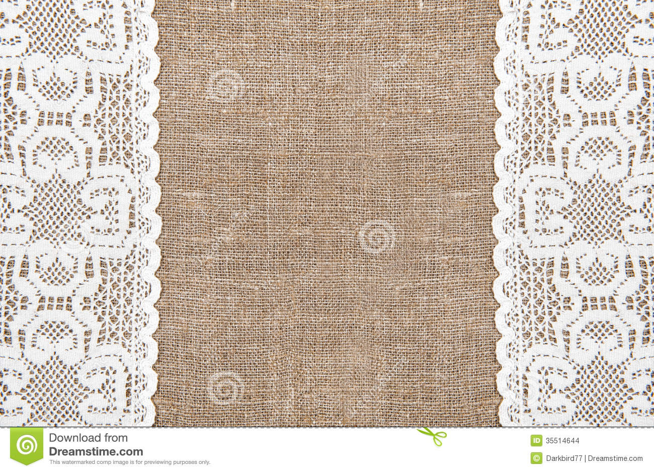Burlap Background With Lacy Cloth Stock Images   Image  35514644