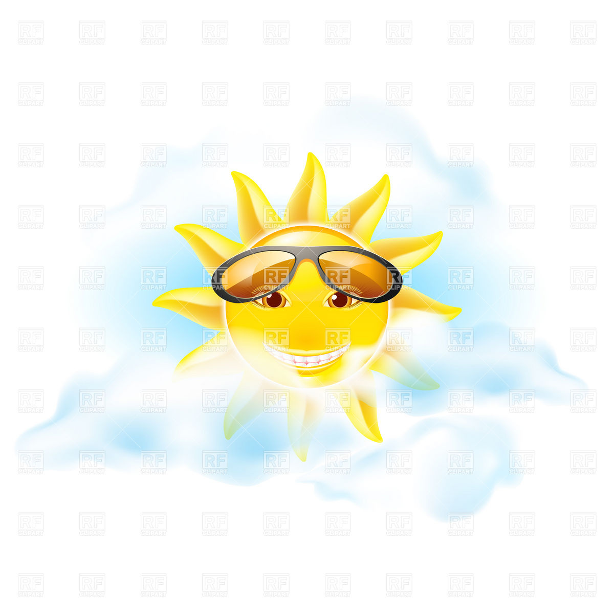 Cloudy Sky With Sunglasses Download Royalty Free Vector Clipart  Eps