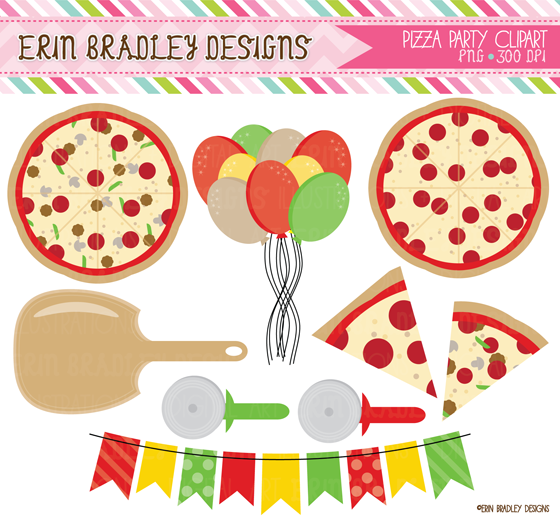 Erin Bradley Designs  Pizza Party Clipart   Digital Papers