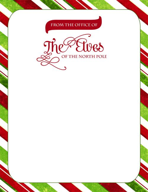 Free Download Official Elf Letterhead For Gregnog To Leave Notes For
