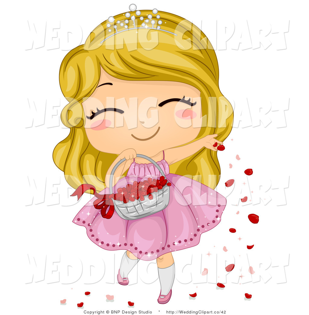 Preview  Vector Cartoon Marriage Clipart Of A Cute Wedding Flower Girl