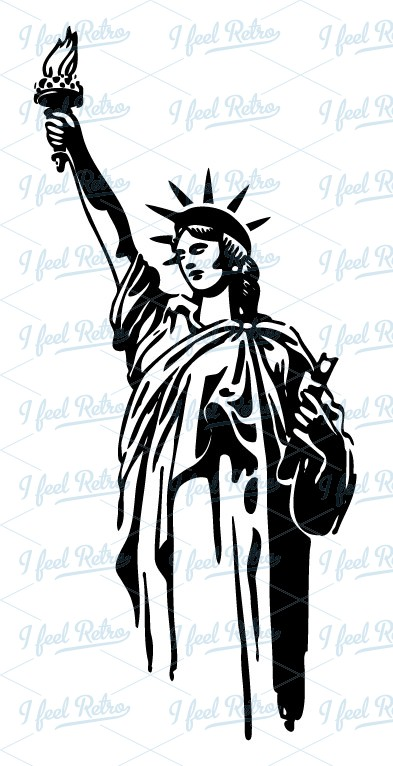 Retro Clipart  Statue Of Liberty   Authentic Vintage European