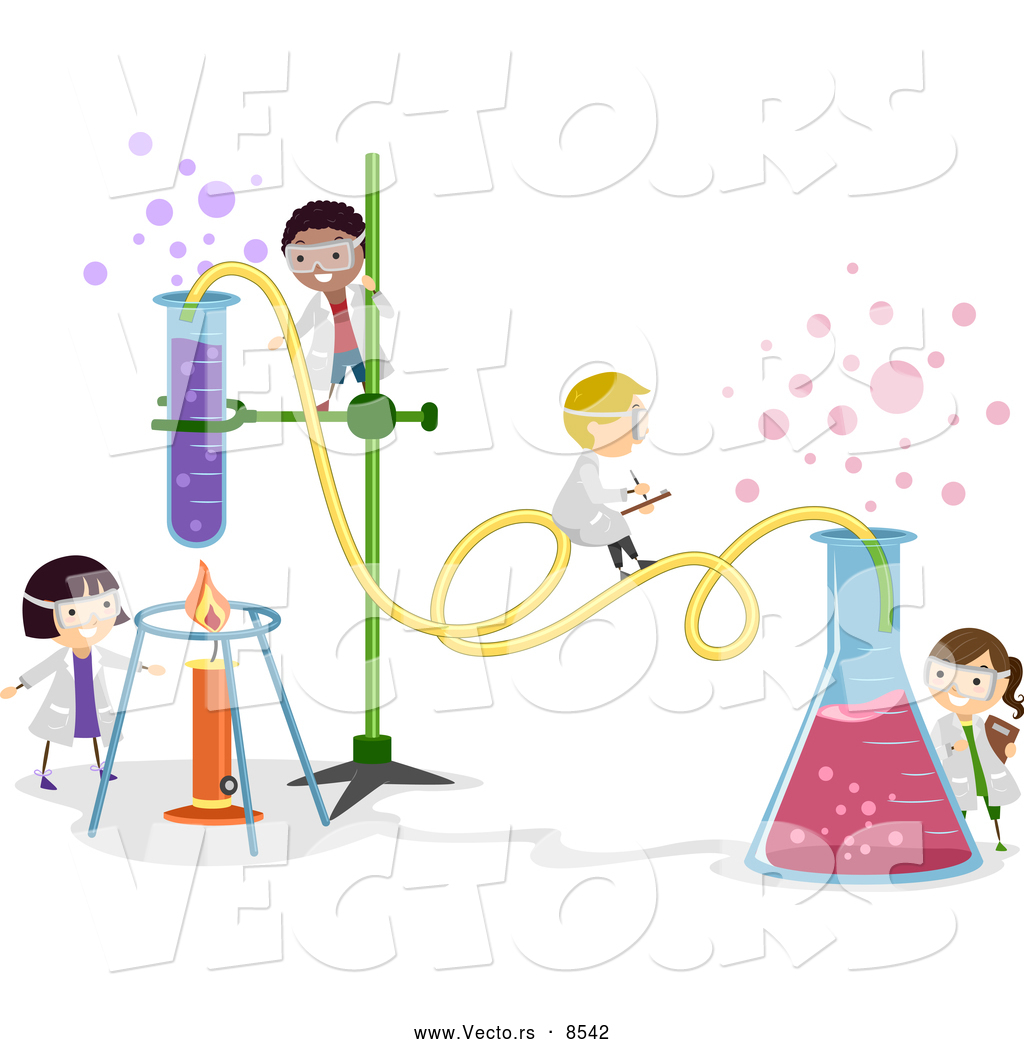 Vector Of Happy Cartoon Kids Working On A Chemistry Experiment At