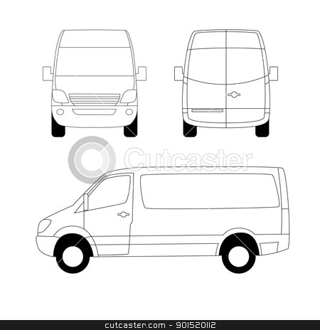 White Delivery Van Stock Vector Clipart White Delivery Van Leftside