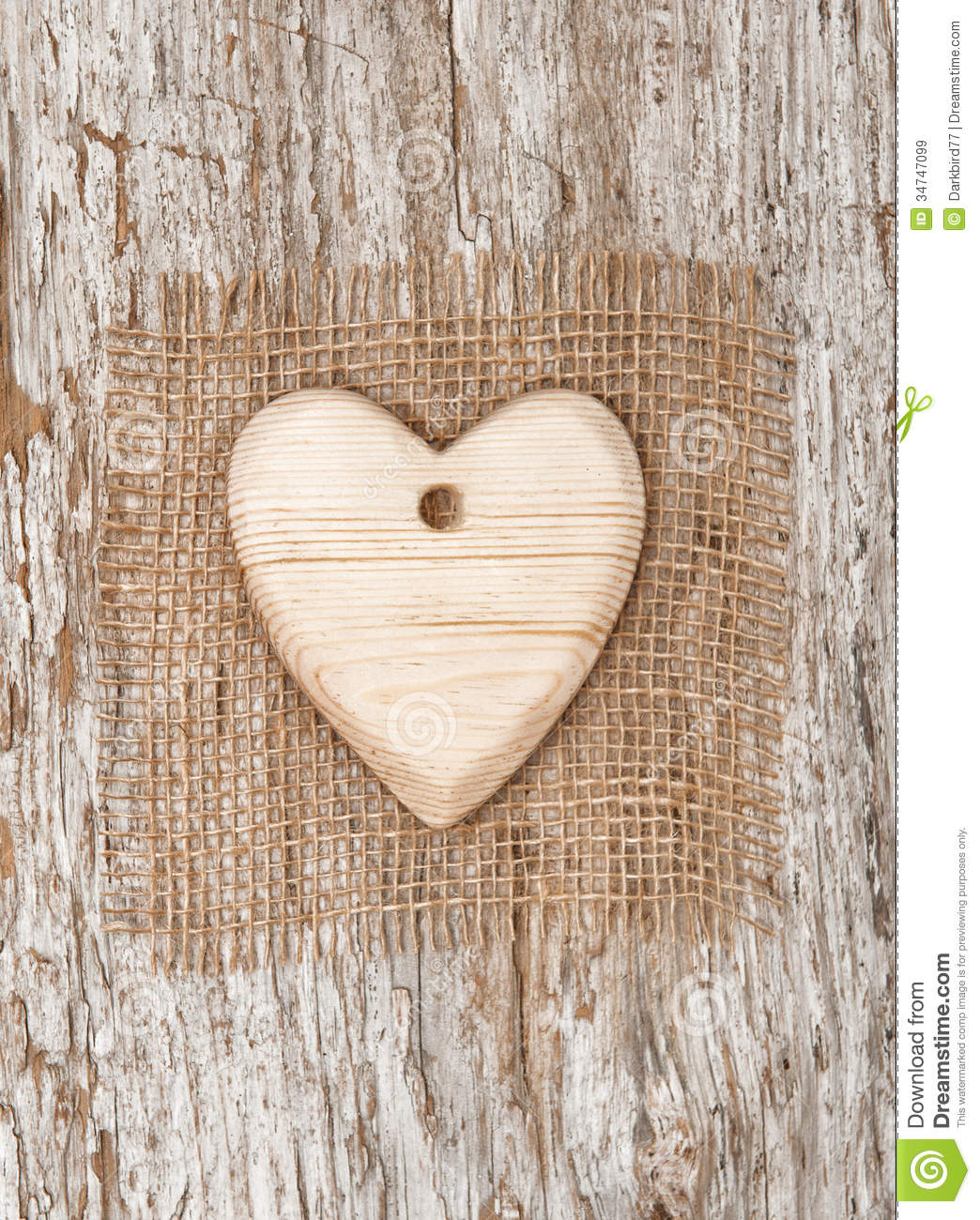 Wooden Heart With Burlap Textile On The Old Wood Royalty Free Stock