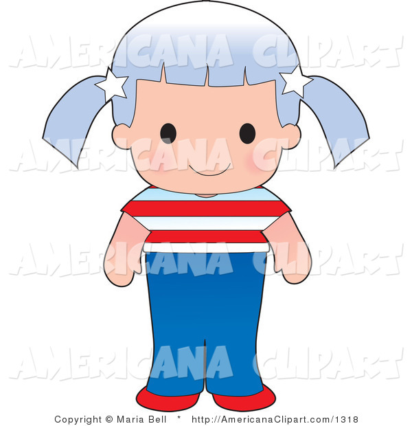 Americana Vector Clip Art Of A Cute American Girl Wearing A Flag Of