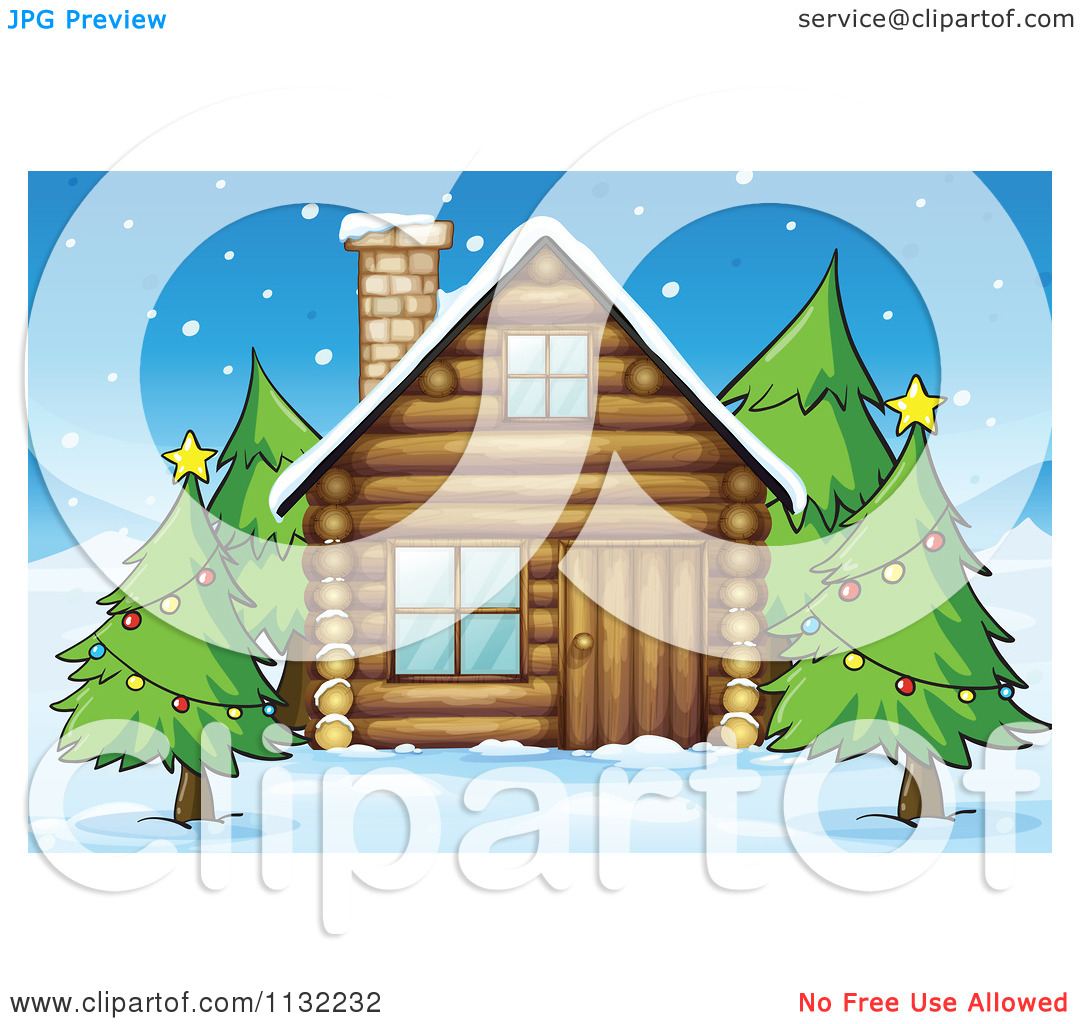 Cabin And Christmas Trees   Royalty Free Vector Clipart By Colematt