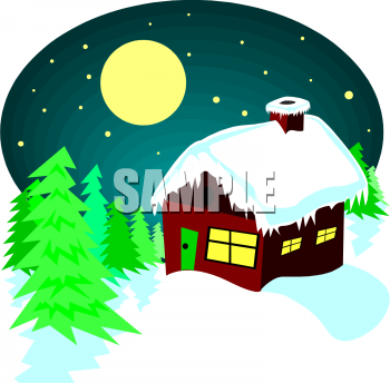 Christmas Clipart Picture Of A Little Cabin In The Woods