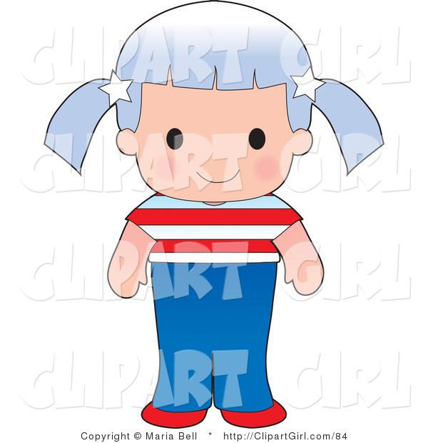 Clip Art Of A Cute Caucasian American Girl Wearing A Flag Of The