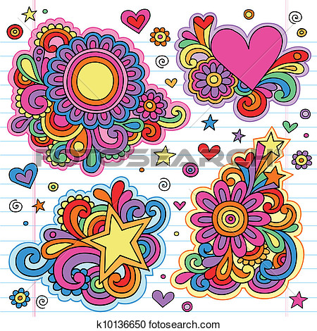 Clipart Of Flower Power Groovy Doodles Vectors K10136650   Search Clip