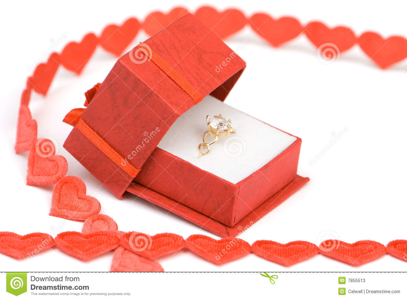 Diamond Engagement Ring In Box On Valentines Day Ready For Proposal