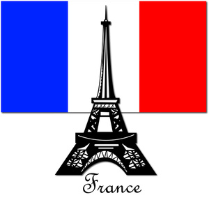 France Clipart Image  The Eiffel Tower In Paris France With The Colors
