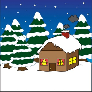 Free Winter Clipart Image  House Or Cabin In The Woods Covered In Snow