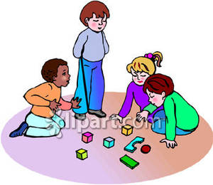 Group Of Children Playing With Building Blocks Royalty Free Clipart