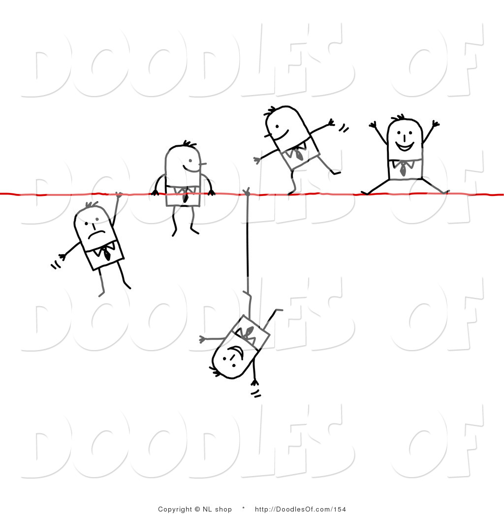 Group Of Stick Figure People Business Men Walking Falling And Hanging
