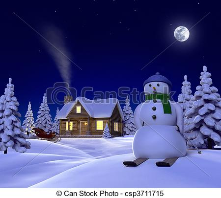 Illustrations Of A Christmas Themed Snow Scene Showing Snowman Cabin