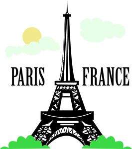Paris Clipart Image   The Eiffel Tower In Paris France With The Text