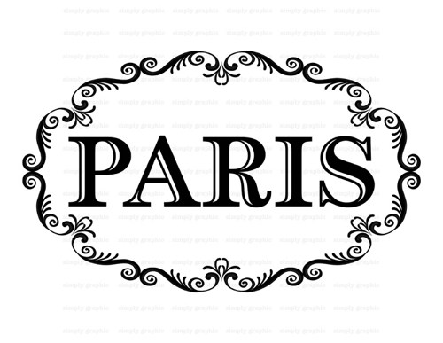 Paris Sign Ornate Frame Digital Collage Sheet Burlap Clipart B007