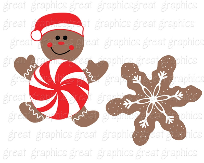 Printable Christmas Gingerbread Cookie Clip Art