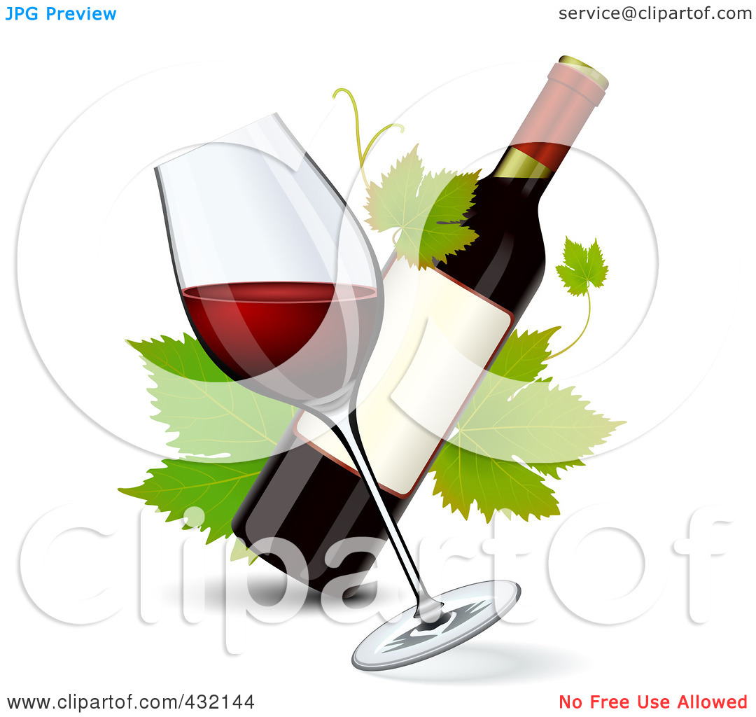 Rf  Clipart Illustration Of A Tilted Glass Of Red Wine With A Wine