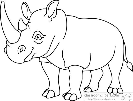 Rhino Clipart Black And White   Wallpaper