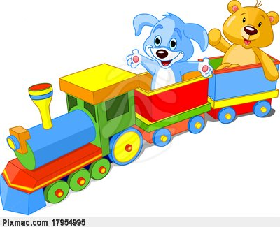 Toy Train  Dog And Teddy Sitting In Car And Waving Hello Stock Photo