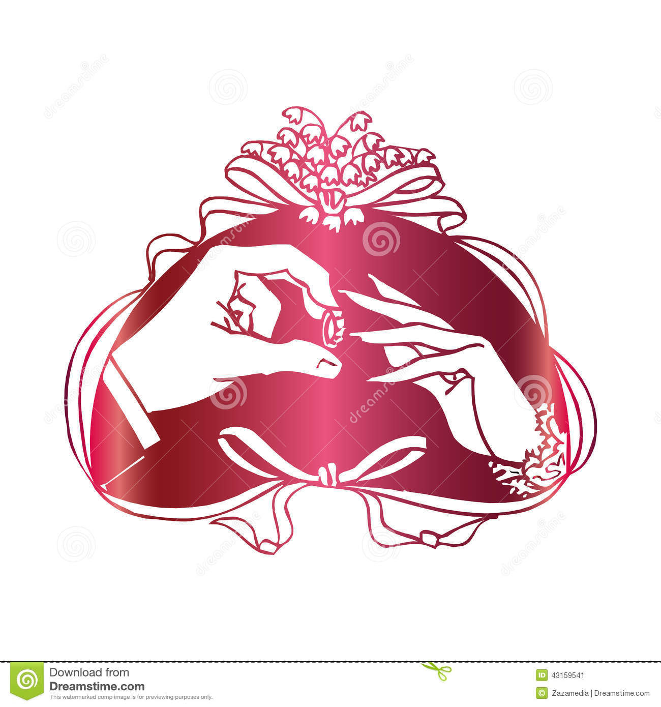 Two Hands Marriage Proposal With Ring Stock Vector   Image  43159541