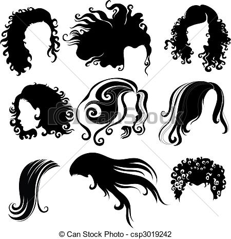 Vector Big Set Of Black Hair Styling For Woman  From My Big Hair
