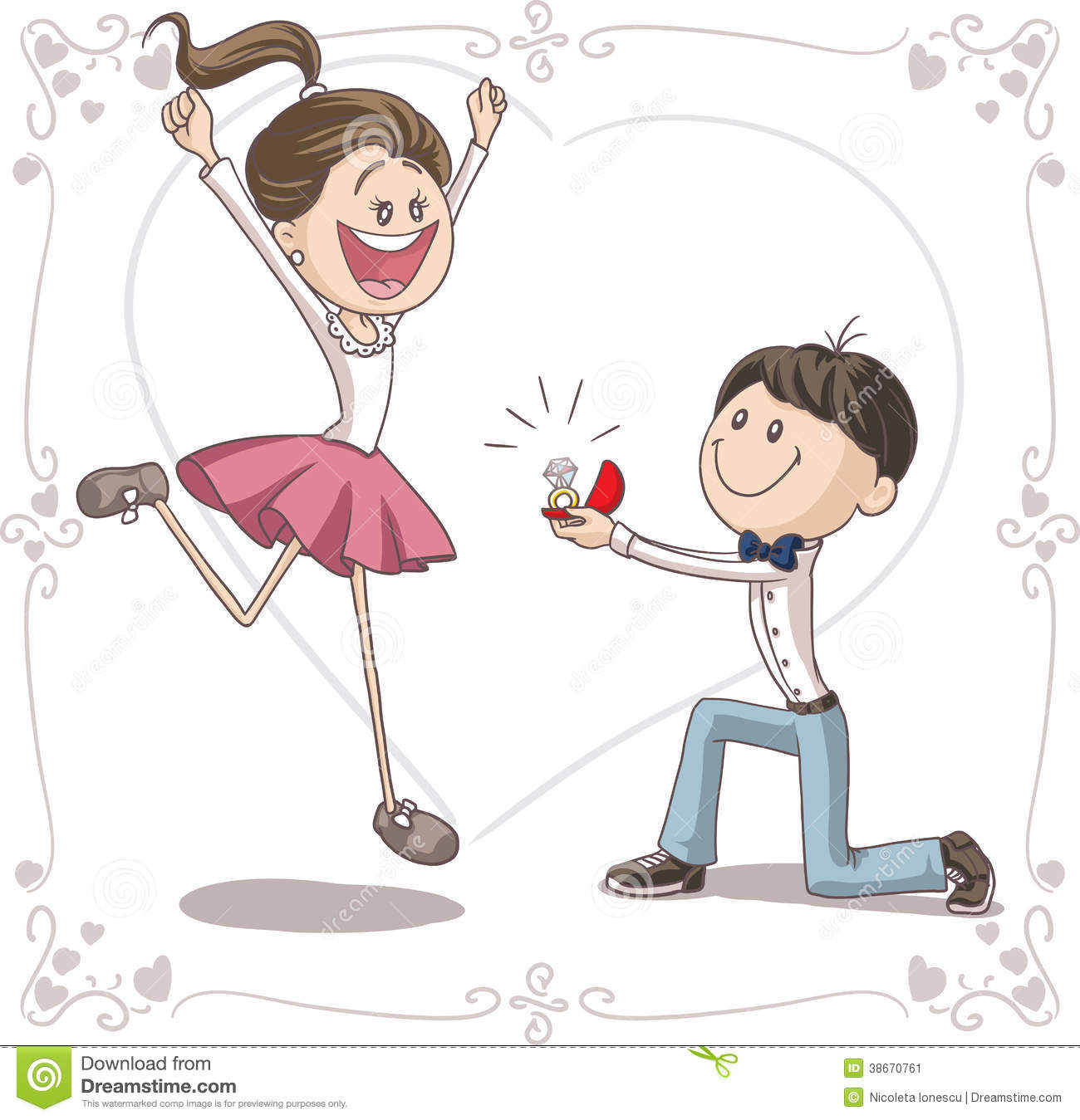 Vector Cartoon Of A Cute Young Man Proposing To A Very Happy Bride To