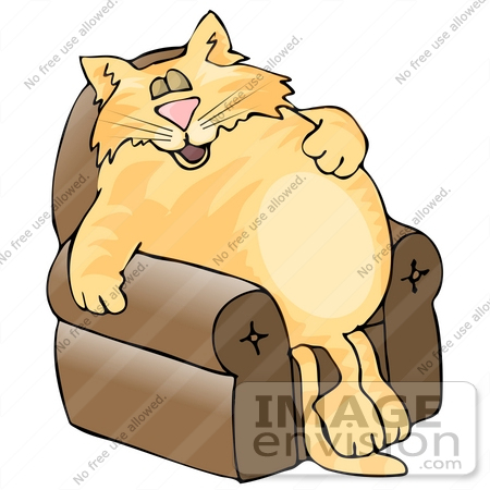 Fat Orange Cat Sleeping In A Lazy Chair Clipart    19089 By Djart