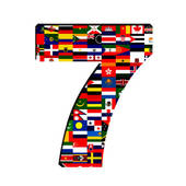 Flag In Number 7   Clipart Graphic