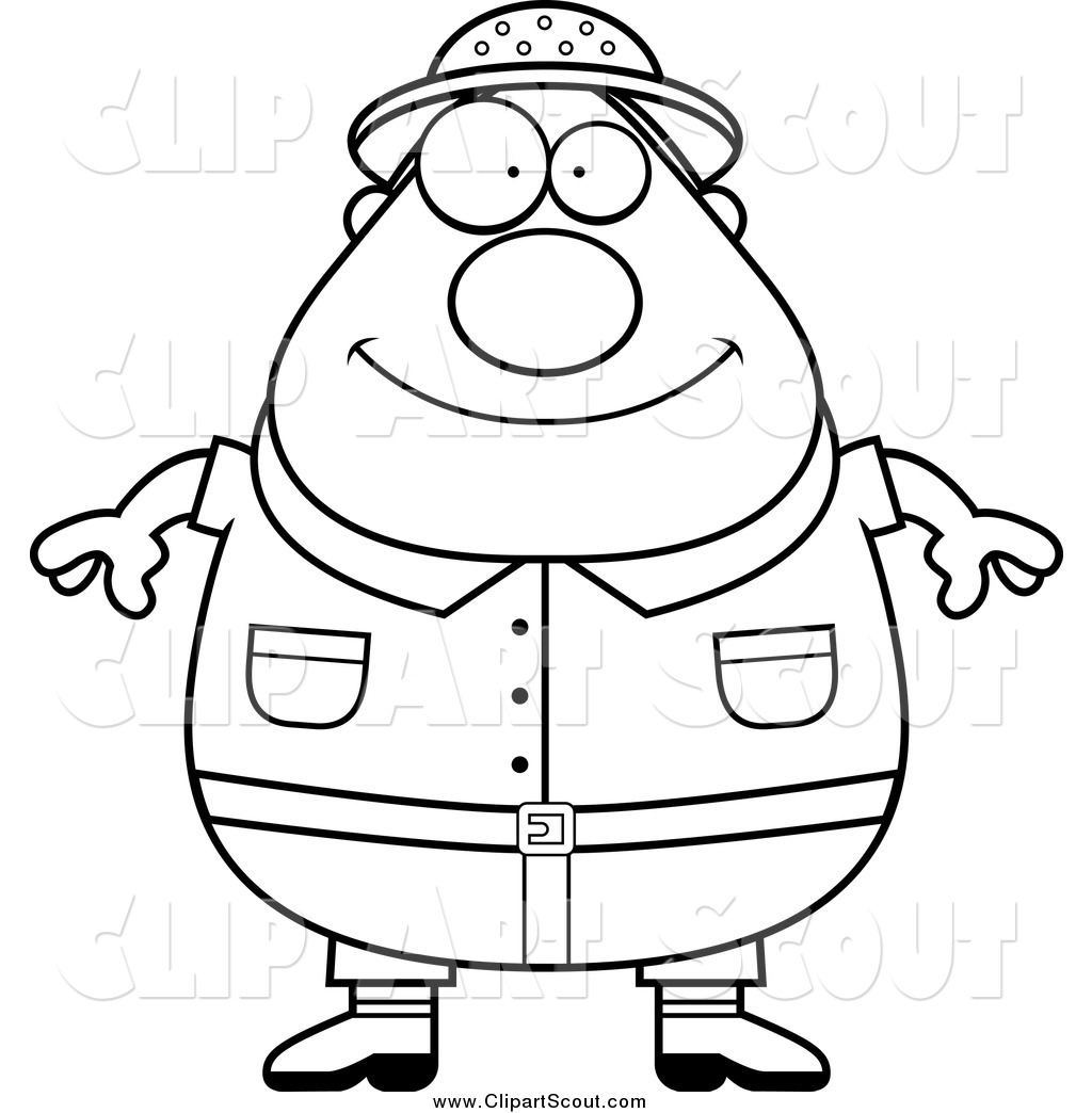 Larger Preview  Clipart Of A Black And White Fat Safari Man By Cory