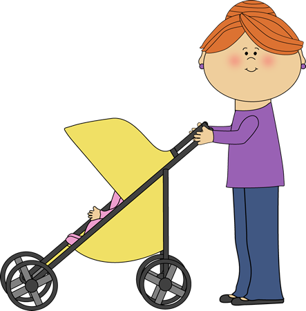 Mom Pushing Baby Stroller Clip Art Image