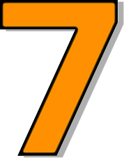 Number 7 Orange    Signs Symbol Alphabets Numbers Outlined Numbers