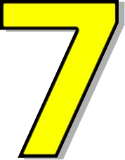 Number 7 Yellow    Signs Symbol Alphabets Numbers Outlined Numbers