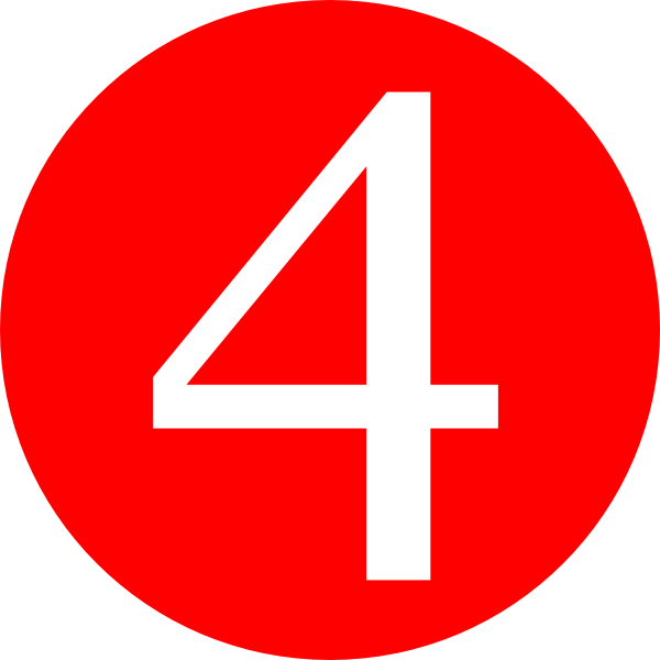 Red Roundedwith Number 4 Clip Art