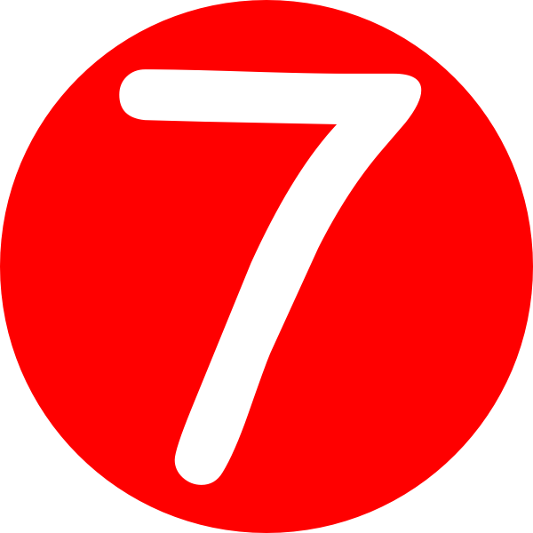 Red Roundedwith Number 7 Clip Art