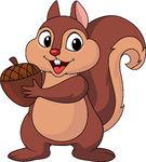 Squirrel Cartoon With Nut Clip Art