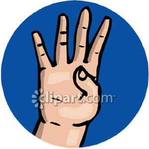 The Sign Language Number 4   Royalty Free Clipart Picture