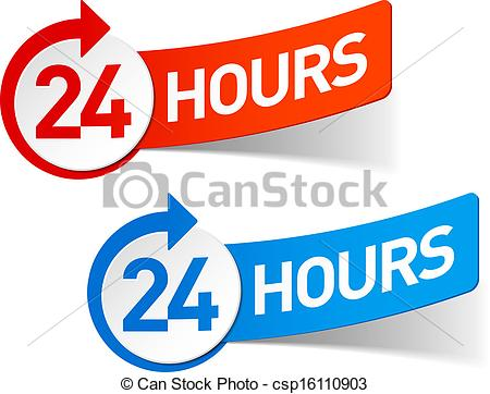 Vector Clipart Of 24 Hours Symbol   24 Hours Csp16110903   Search Clip
