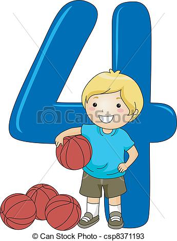 Vector   Number Kid 4   Stock Illustration Royalty Free Illustrations